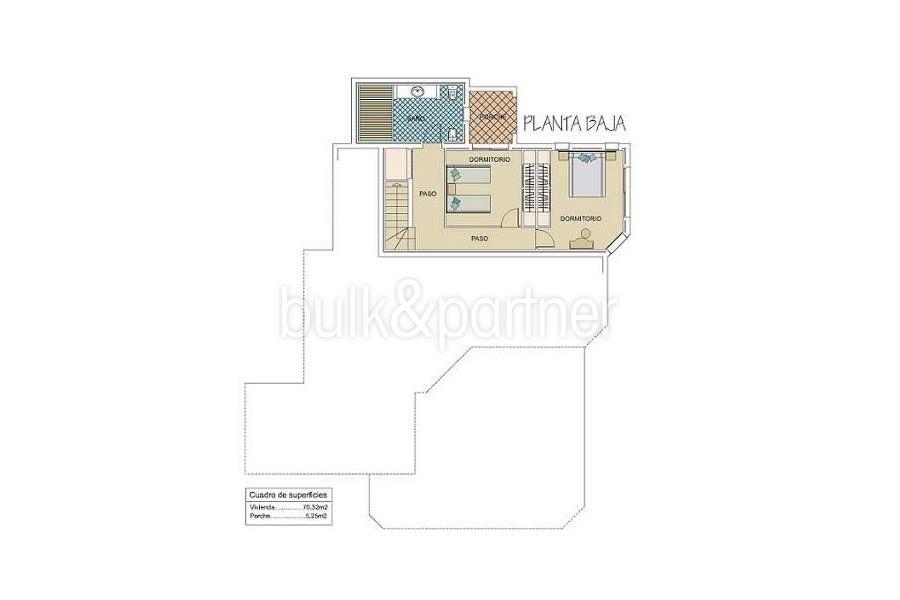 Extraordinaria villa estilo ibicenco en Moraira El Portet - Plano planta baja - ID: 5500001 - Arquitecto Joaquín Lloret