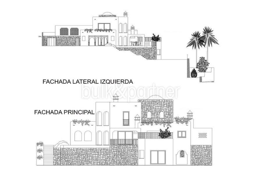 Aussergewöhnliche Ibiza-Style Villa in Moraira El Portet - Grundriss Seitenansicht - ID: 5500001 - Architekt Joaquín Lloret