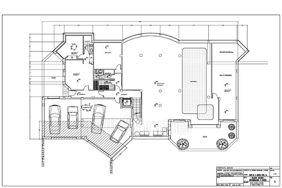 Villa de lujo en primera linea en Moraira Cap Blanc - Plano planta sóltano - ID: 5500003
