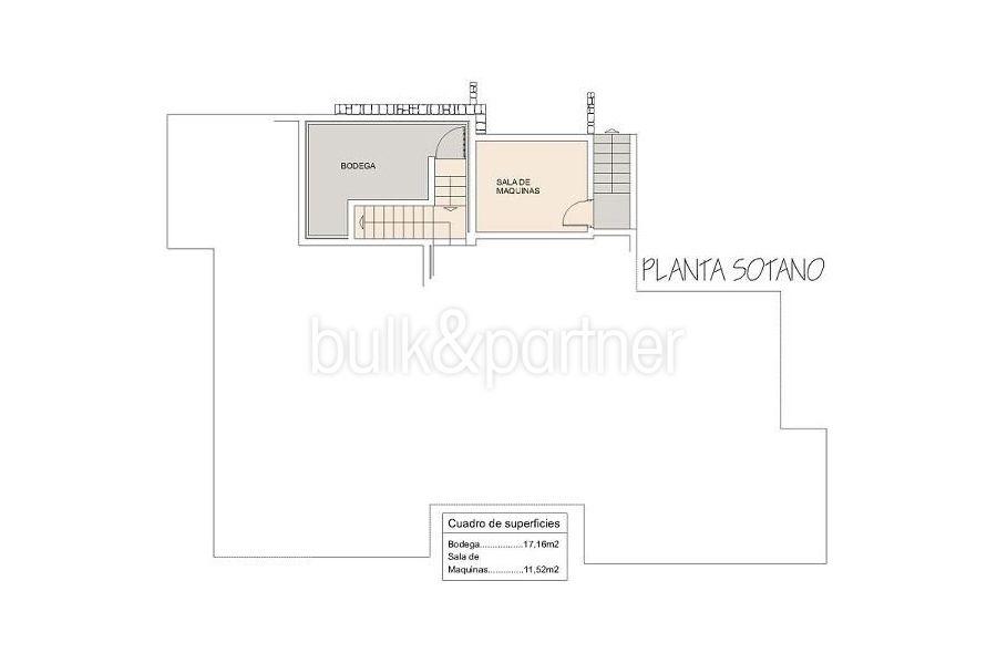 Moderne Ibiza-Style Villa in Moraira El Portet - Grundriss Untergeschoss - ID: 5500002 - Architekt Joaquín Lloret