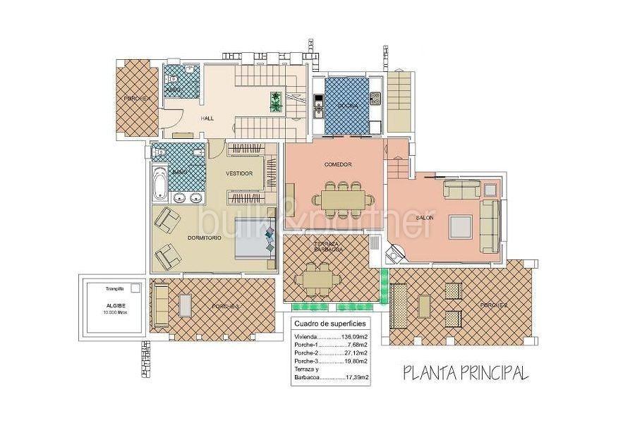 Moderna villa estilo ibicenco en Moraira El Portet - Plano planta principal - ID: 5500002 - Arquitecto Joaquín Lloret