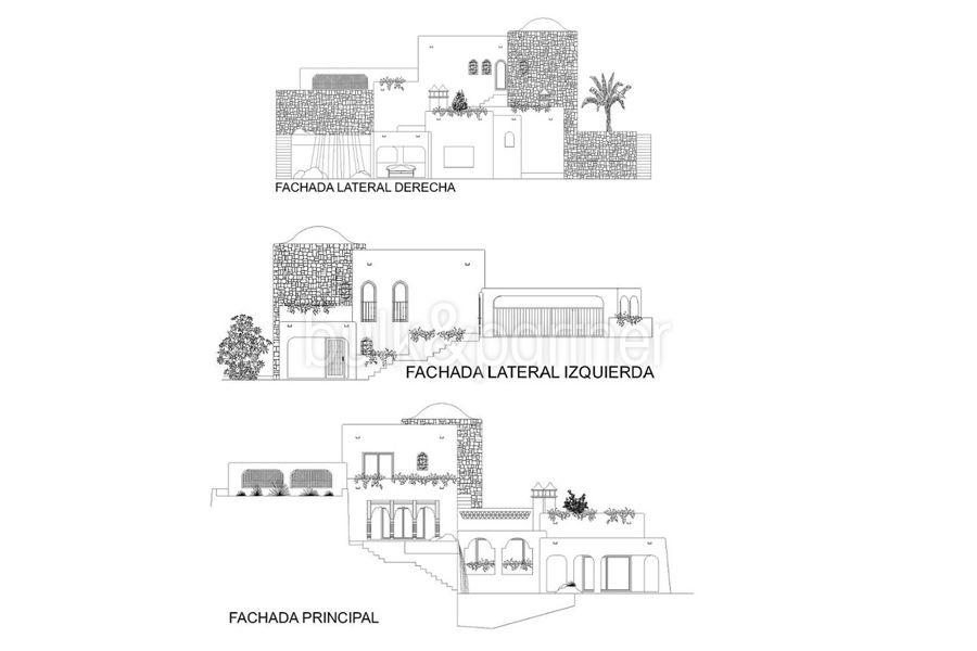 Moderne Ibiza-Style Villa in Moraira El Portet - Grundriss Seitenansicht - ID: 5500002 - Architekt Joaquín Lloret