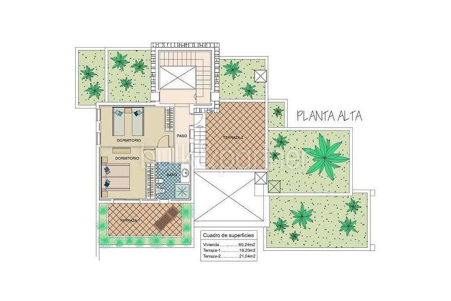 Moderna villa estilo ibicenco en Moraira El Portet - Plano planta alta - ID: 5500002 - Arquitecto Joaquín Lloret