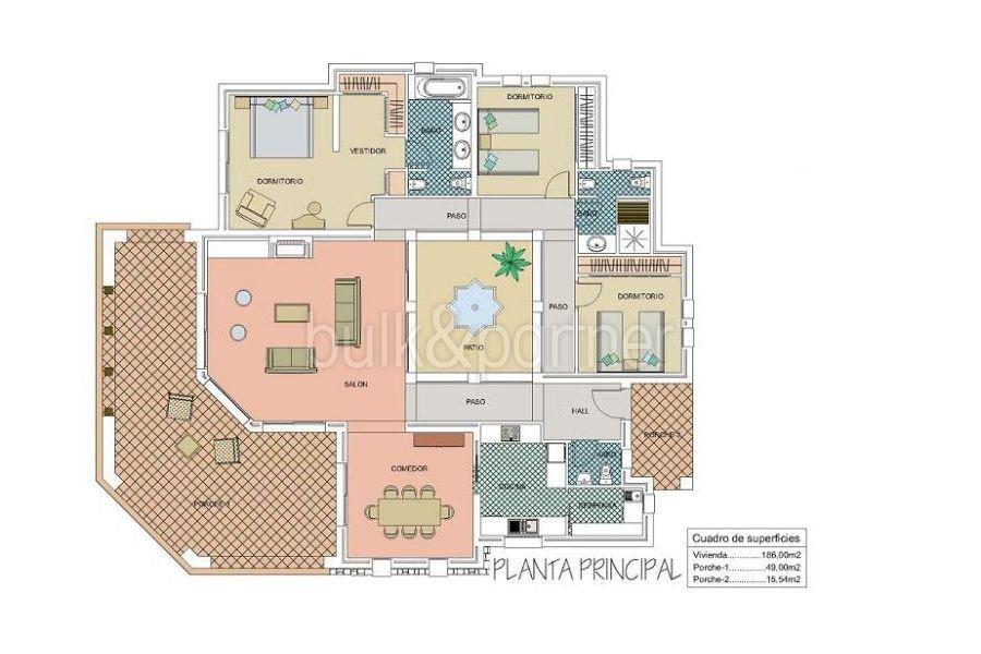 Ibiza-Style Villa mit Meerblick in Moraira El Portet - Grundriss Erdgeschoss - ID: 5500022 - Architekt Joaquín Lloret