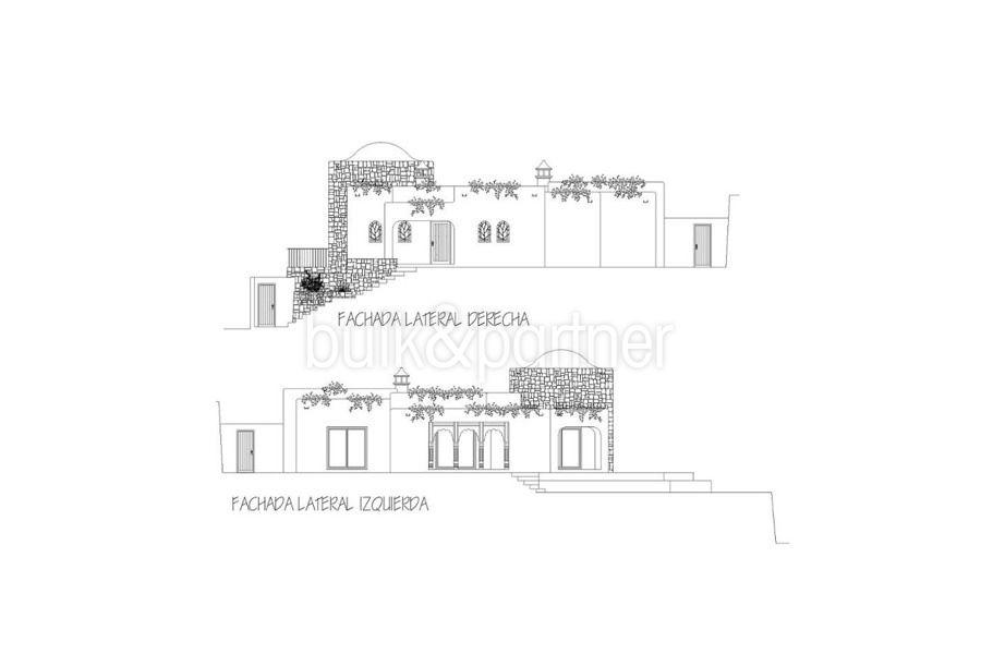 Ibiza style villa with sea views in Moraira El Portet – Floor plan letaral facade – ID: 5500022 - Architect Joaquín Lloret