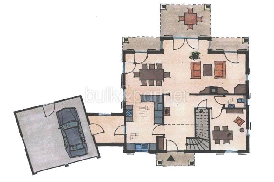 Mediterrane Villa in Moraira Coma de los Frailes - Grundriss Erdgeschoss - ID: 5500024 - Fertighaus Hanse Haus Spanien / in Deutschland hergestellt