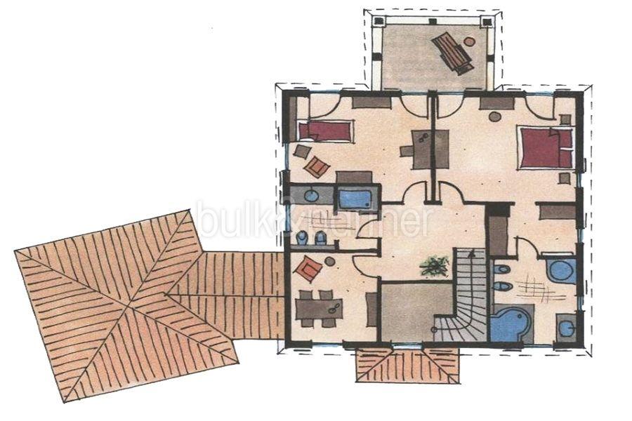 Mediterrane Villa in Moraira Coma de los Frailes - Grundriss Obergeschoss - ID: 5500024 - Fertighaus Hanse Haus Spanien / in Deutschland hergestellt
