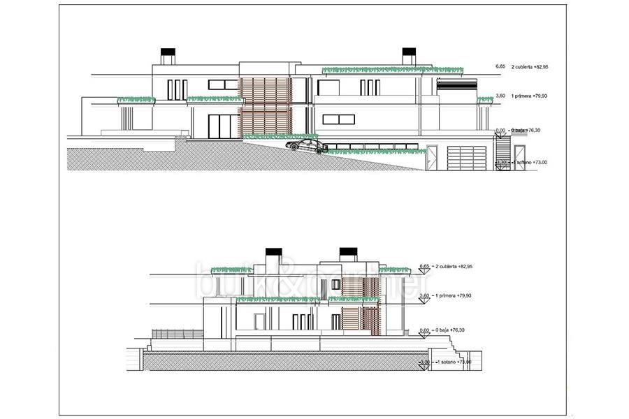 Exclusive first line luxury villa in Altéa Campomanes - Floor plan rear and left view - ID: 5500659 - Architect David Montés López