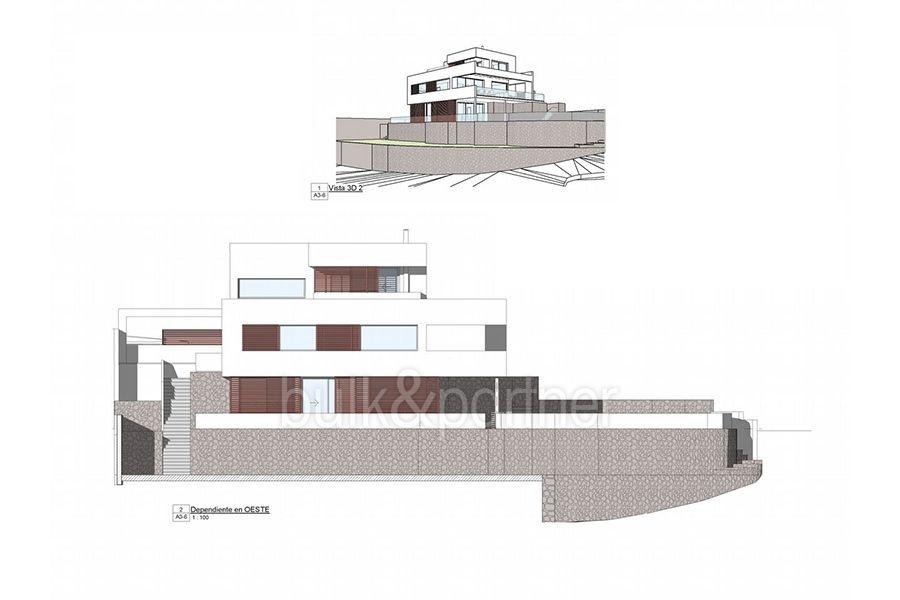 Moderna propiedad de lujo en Moraira El Portet - Plano fachada - ID:5500658 - Arquitecto Joaquín Lloret