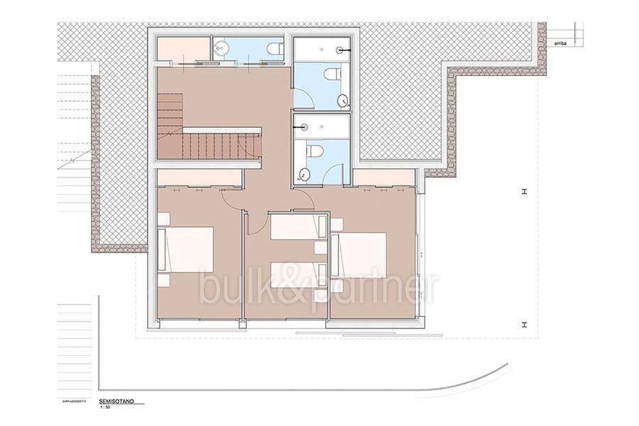 Moderna propiedad de lujo en Moraira El Portet - Plano semisotano - ID:5500658 - Arquitecto Joaquín Lloret