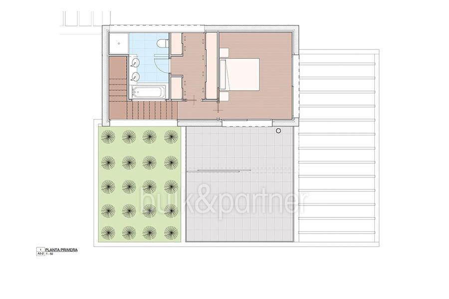 Moderna propiedad de lujo en Moraira El Portet - Plano planta primera - ID:5500658 - Arquitecto Joaquín Lloret