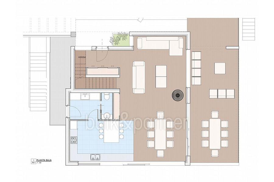 Moderna propiedad de lujo en Moraira El Portet - Plano planta baja - ID:5500658 - Arquitecto Joaquín Lloret