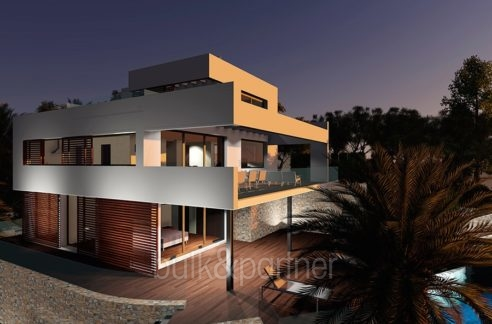 Modern luxury property in Moraira El Portet - By night - ID: 5500658 - Architect Joaquín Lloret
