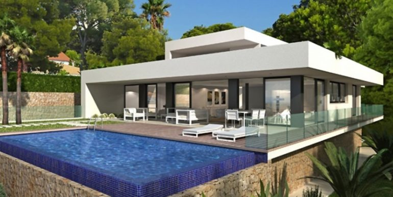New build sea front luxuy villa in Moraira El Portet – Pool terrace – ID: 5500657