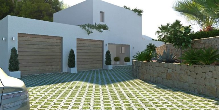 New build sea front luxuy villa in Moraira El Portet – Entrance area and garage – ID: 5500657