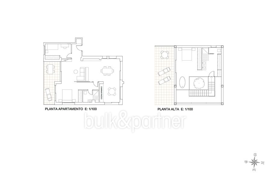 New build sea front luxuy villa in Moraira El Portet - Floor plan apartment / Upper floor - ID: 5500657 - Architect Joaquín Lloret
