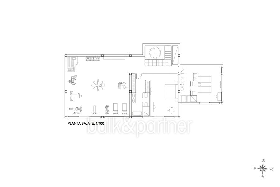 New build sea front luxuy villa in Moraira El Portet - Floor plan basement - ID: 5500657 - Architect Joaquín Lloret