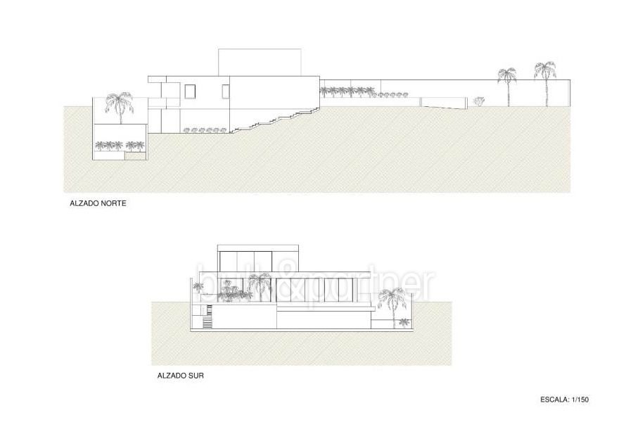 New build sea front luxuy villa in Moraira El Portet - Floor plan lateral facade - ID: 5500657 - Architect Joaquín Lloret