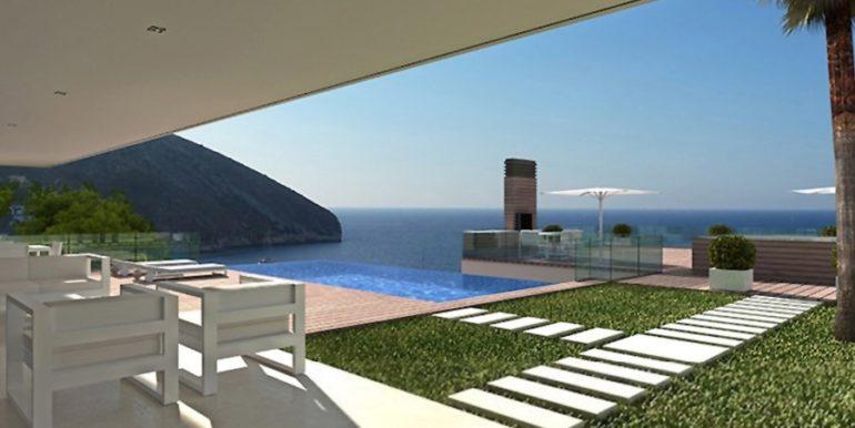 New build sea front luxuy villa in Moraira El Portet - Pool terrace and sea views - ID: 5500657