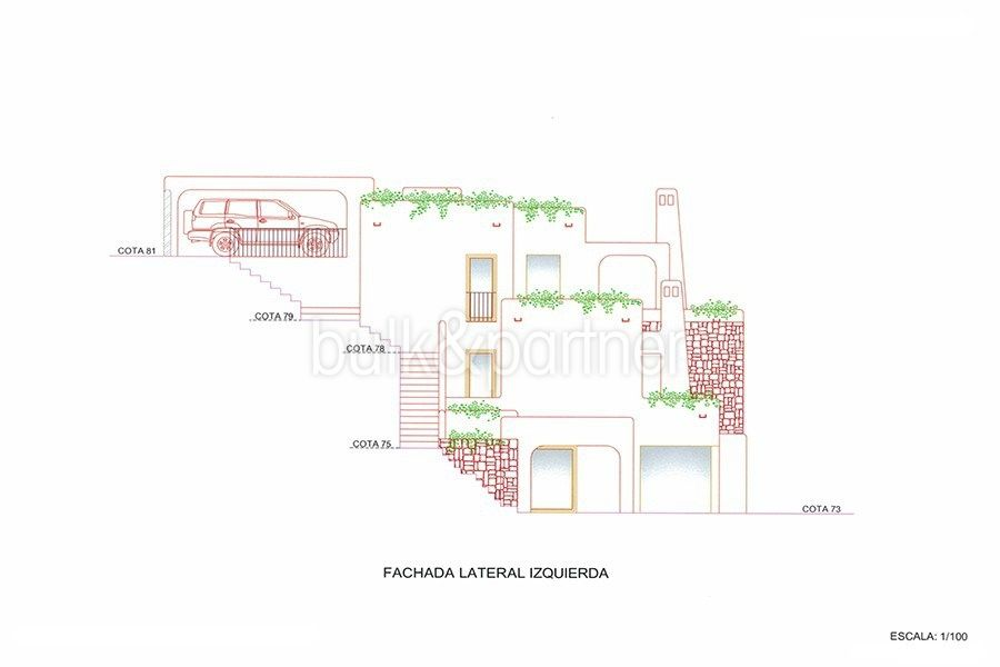 New ibizan style luxury villa in Moraira El Portet - Floor plan left side facade - ID 5500011 - Architect Joaquín Lloret