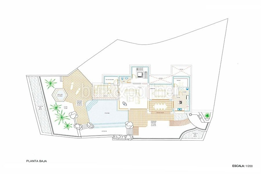 New ibizan style luxury villa in Moraira El Portet - Floor plan lowest floor - ID 5500011 - Architect Joaquín Lloret