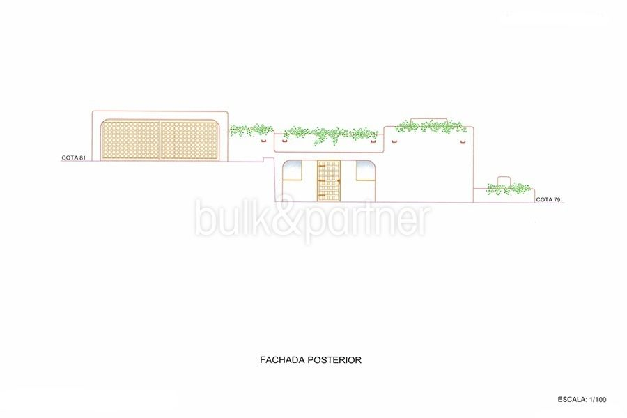 New ibizan style luxury villa in Moraira El Portet - Floor plan rear facade - ID 5500011 - Architect Joaquín Lloret