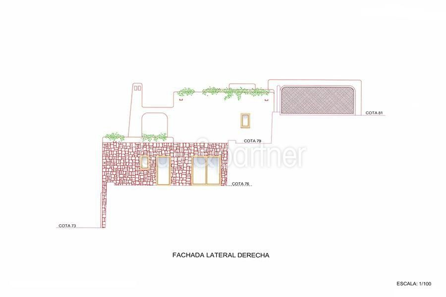 New ibizan style luxury villa in Moraira El Portet - Floor plan right side facade - ID 5500011 - Architect Joaquín Lloret