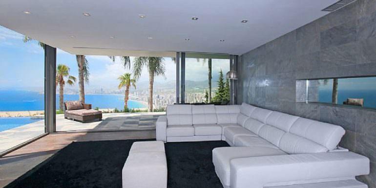 Moderna villa de diseño de lujo en Benidorm Sierra Dorada - Salón con vistas al mar - ID: 5500052