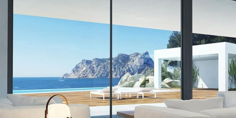 New luxury villa in sea front in Benissa Les Bassetes - Livingroom with sea views - ID: 5500664
