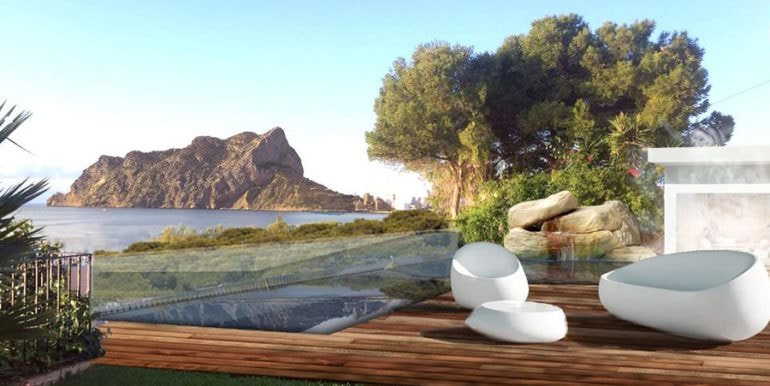 New luxury villa in sea front in Benissa Les Bassetes - Pool terrace with sea views - ID: 5500664