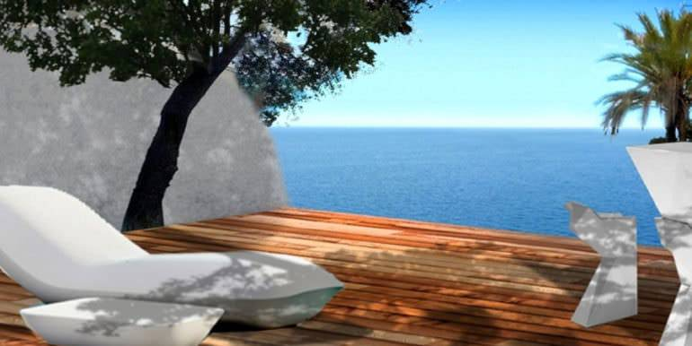 New luxury villa in sea front in Benissa Les Bassetes - Terrace with sea views - ID: 5500664