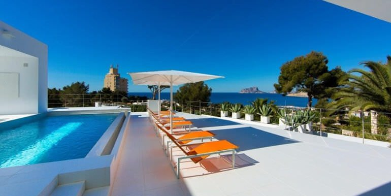 New villa in minimalist style with sea views Moraira El Portet - Pool terrace and sea views - ID: 5500633
