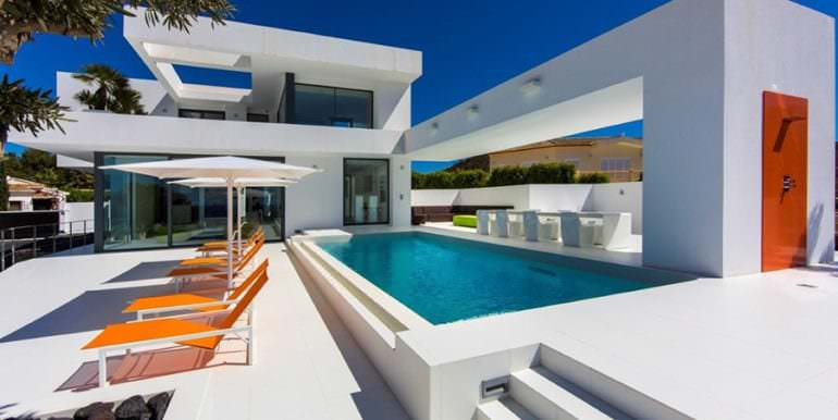 New villa in minimalist style with sea views in Moraira El Portet - Pool terrace - ID: 5500663 - Architect Carlos Gilardi (Equipo Digitalarq S.L.) - Photographer Michael van Oosten - Villa CAWOW