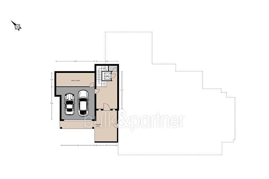 Traumhaftes Anwesen in exponierter Lage in Moraira Paichi - Grundriss Untergeschoss und Garage - ID: 5500660