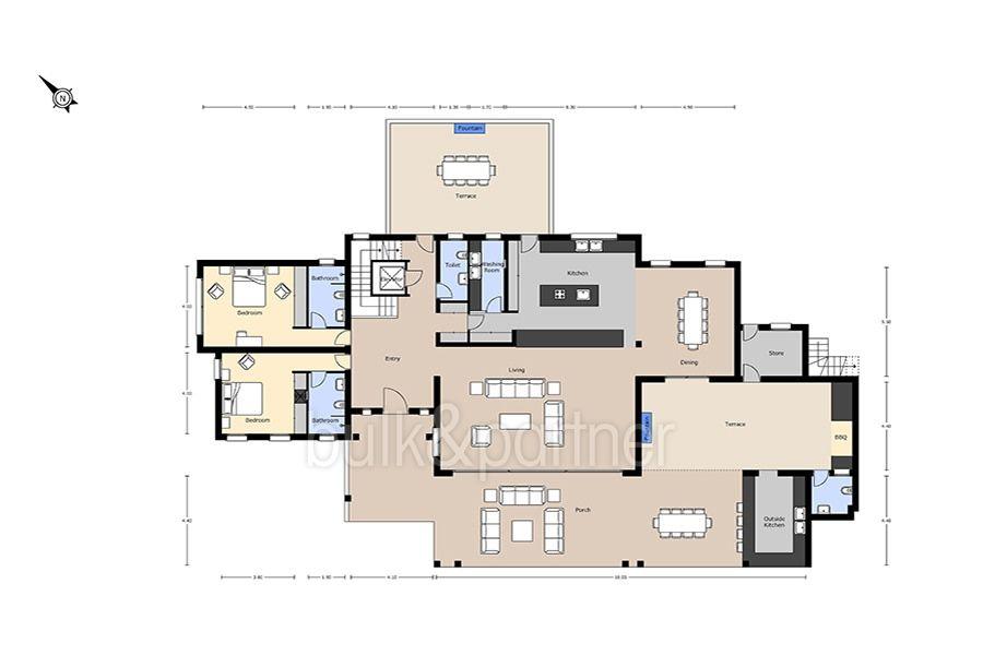Unique luxury villa in exposed location in Moraira Paichi - Floor plan ground floor - ID: 5500660