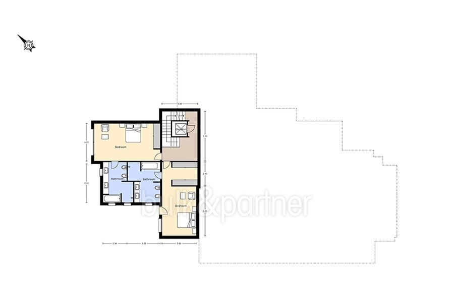 Unique luxury villa in exposed location in Moraira Paichi - Floor plan intermediate floor - ID: 5500660