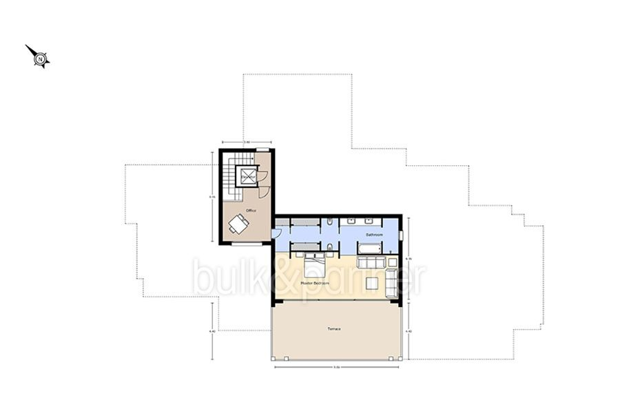 Unique luxury villa in exposed location in Moraira Paichi - Floor plan top floor - ID: 5500660