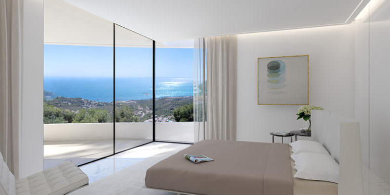 Design villa with sea views in Altéa Hills - Bedroom with sea views - ID: 5500667 - Architect Ramón Gandia Brull
