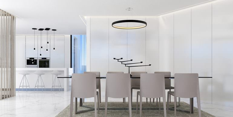 Design villa with sea views in Altéa Hills - Dining area and american kitchen - ID: 5500667 - Architect Ramón Gandia Brull (RGB Arquitectos)