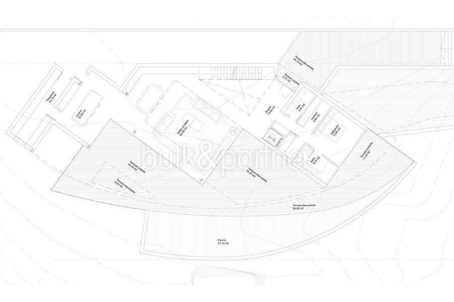 Design villa with sea views in Altéa Hills - Floor plan ground floor - ID: 5500667 - Architect Ramón Gandia Brull (RGB Arquitectos)