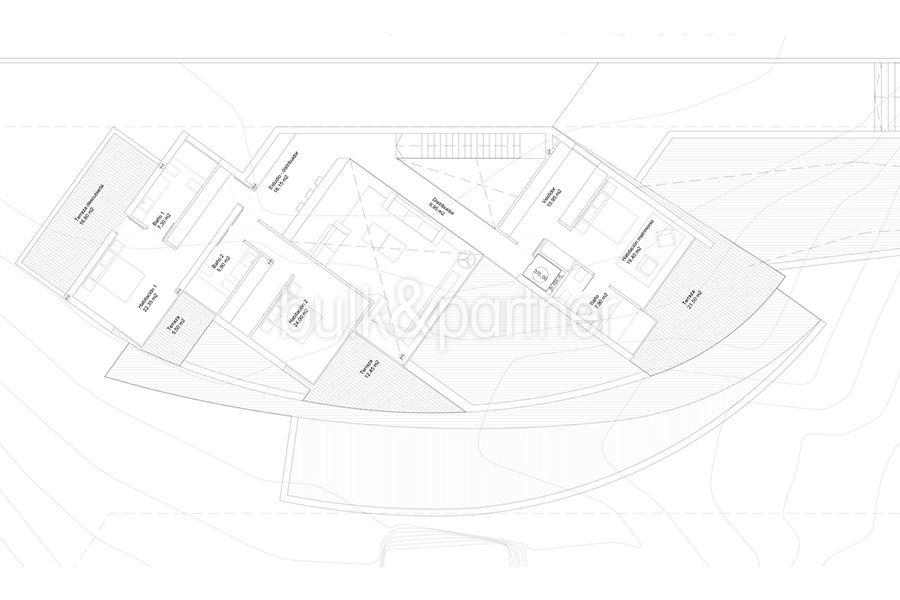 Design villa with sea views in Altéa Hills - Floor plan top floor - ID: 5500667 - Architect Ramón Gandia Brull (RGB Arquitectos)