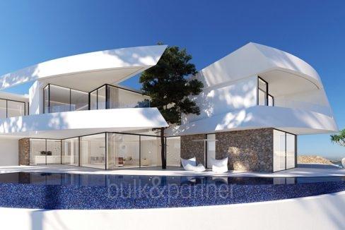 Design villa with sea views in Altéa Hills - Villa and pool terrace - ID: 5500667 - Architect Ramón Gandia Brull (RGB Arquitectos)