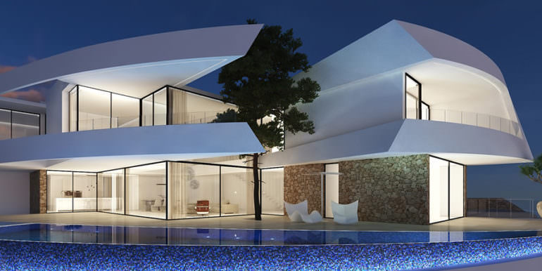 Design villa with sea views in Altéa Hills - Villa and Pool terrace by night illuminated - ID: 5500667 - Architect Ramón Gandia Brull