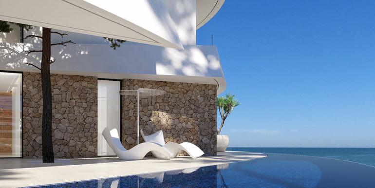 Design villa with sea views in Altéa Hills - Pool terrace with sea views - ID: 5500667 - Architect Ramón Gandia Brull (RGB Arquitectos)