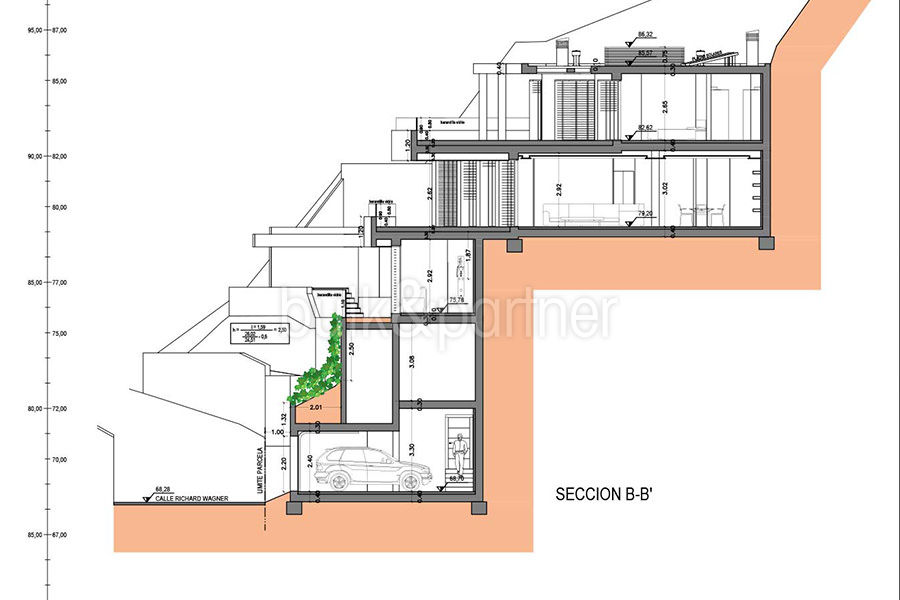 Luxury property on the seafront in Jávea Ambolo - Floor plan average section b - ID: 5500672 - Architect POM Architectos