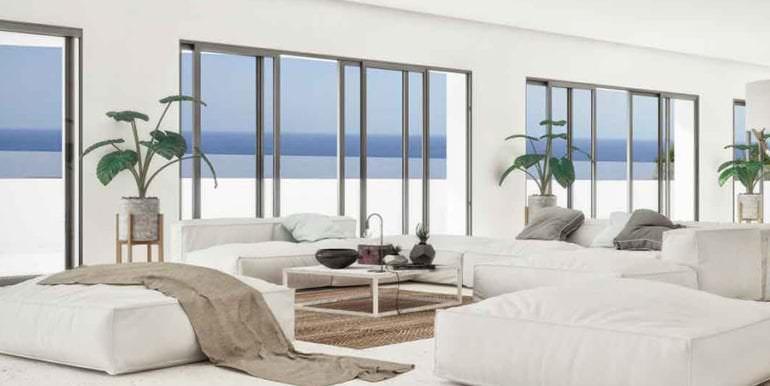 Luxus Immobilie in erster Meeresline in Jávea Ambolo - Wohnbereich und Terrasse mit Meerblick - ID: 5500672 - Architekt POM Architectos