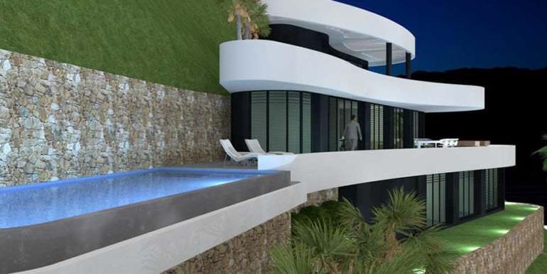 Luxus Immobilie in erster Meeresline in Jávea Ambolo - Seitenansicht von links - ID: 5500672 - Architekt POM Architectos