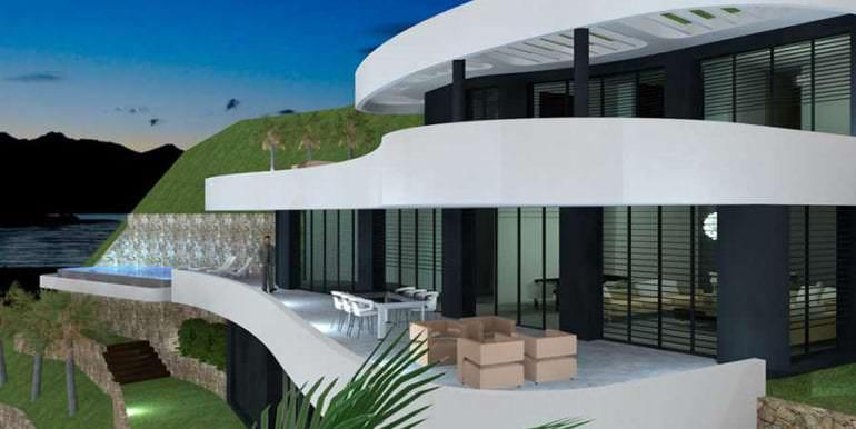 Luxus Immobilie in erster Meeresline in Jávea Ambolo - Seitenansicht von rechts - ID: 5500672 - Architekt POM Architectos