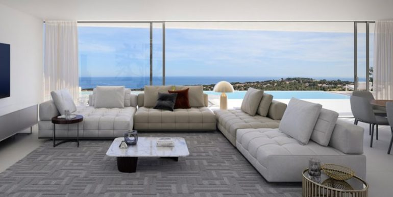 Luxury villa with beautiful sea views in Moraira Benimeit - Living and dining area with sea views - ID: 5500671 - Architect Ramón Gandia Brull