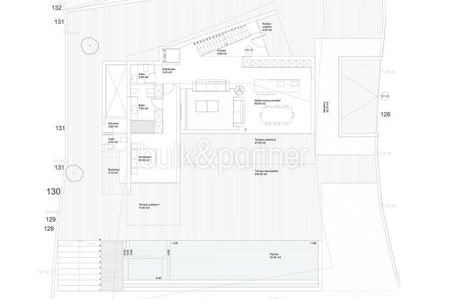 Luxury villa with perfect sea views in Moraira Benimeit - Floor plan ground floor - ID: 5500670 - Architect Ramón Gandia Brull (RGB Arquitectos)